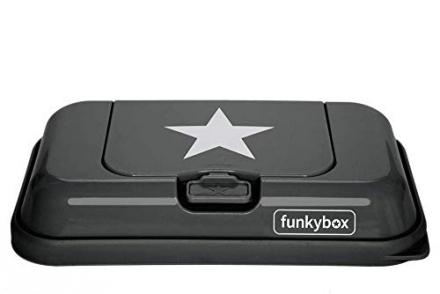 Funkybox To Go for wet wipes dark grey star