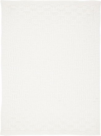 Alvi Knitted blanket big check off-white 75x100