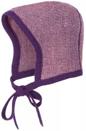 Disana knitted hood size 0 plum rose