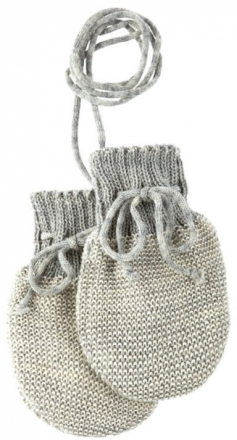 Disana Knitted gloves size 0 grey creme