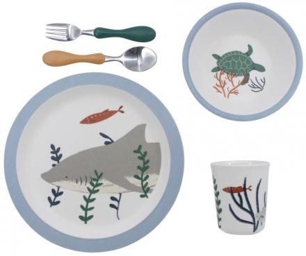 Sebra Melamine dinner set (5 pcs.) Seven Seas