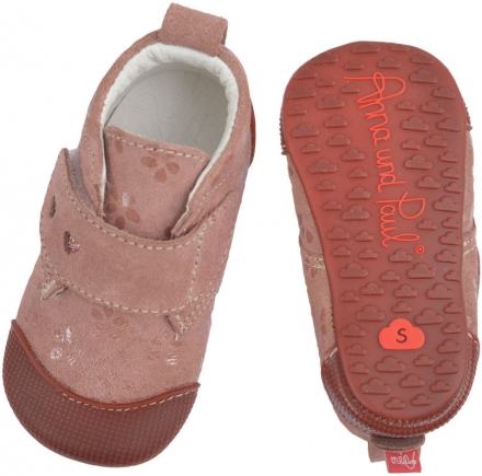 Anna and Paul Buckskin toddler shoe Charlie flowers with rubber sole size M-20/21