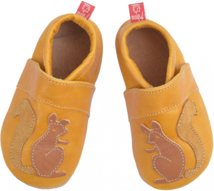 Anna and Paul leather toddler shoe Squirrel yellow with leather sole L-22