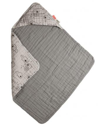 Done by Deer Hooded bath towel Sea Friends grey