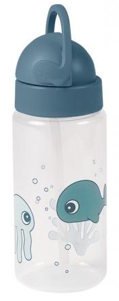 Done by Deer Flasche mit Trinkhalm Sea Friends blau