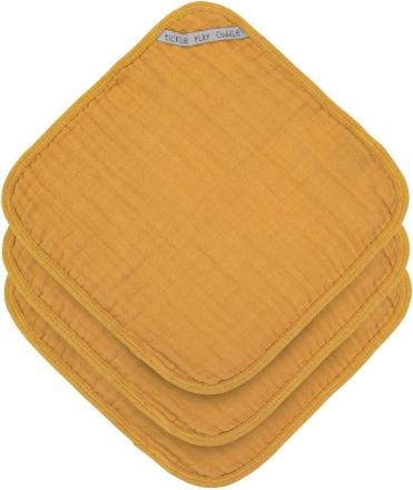 Lässig Muslin washcloth 3pcs. mustard