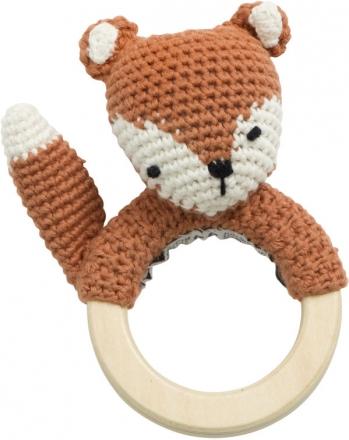 Sebra Crochet rattle Sparky the Fox twig brown