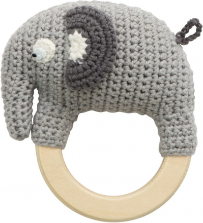 Sebra Crochet rattle Fanto the Elephant classic grey