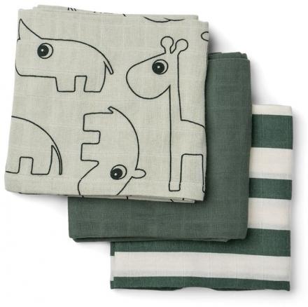 Done by Deer Burp cloth 3-pack Deer Friends green