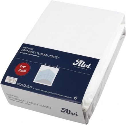Alvi Jersey fitted sheet white/silver 70x140cm 2ps.