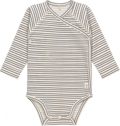 Lässig Long Sleeve Body GOTS 62/68 Striped grey/anthracite