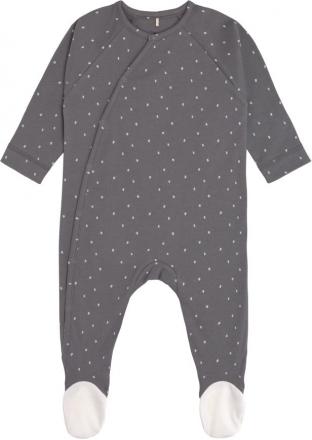 Lässig Pyjamas GOTS with feet 50/56 Spots anthracite