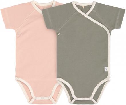 Lässig Short Sleeve Body GOTS 2pcs. 62/68 powder pink/olive