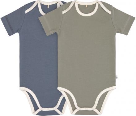 Lässig Short Sleeve Body GOTS 2pcs. 74/80 blue/olive american neckline