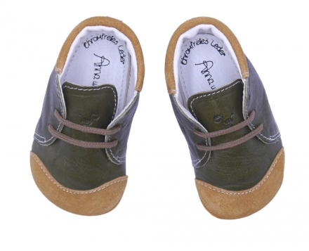 Anna and Paul Chris Leather toddler shoe with rubber sole L-22 khaki