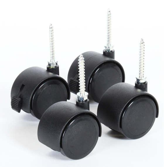 tobi babybay parkettrollensatz 4 stk mit stopper schwarz. Black Bedroom Furniture Sets. Home Design Ideas