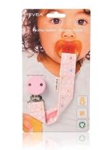 Hevea 334457 Schnullerhalter aus Bio-Baumwolle pink