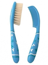 Brush and comb set Primamma blue