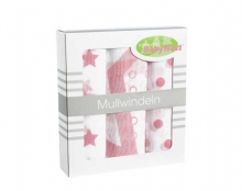 Odenwälder mull diapers 10081/300 stars/dots/circles rose 3in1 pack 80 x 80cm
