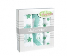 Odenwälder mull diapers 10081/516 stars/dots/circles applemint 3in1 pack 80 x 80cm