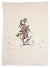 Alvi 931847496 Microfaser Baby Decke Tierpyramide beige 75x100