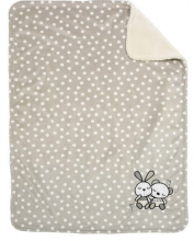 Alvi microfiber baby blanket with application rabbit sandgrey 75x100