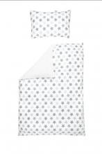 Odenwälder 2065/1199 Jersey-Wendebettwäsche Sterne silber 100x135cm