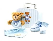 Steiff 240553 Geschenkset Schlaf Gut Bär Greifring 20 blau