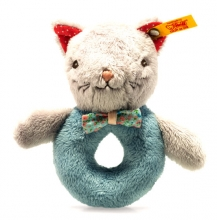 Steiff 241116 Blossom cat grip toy 12 grey/petrol