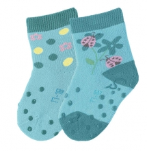 Sterntaler 8011724 ABS-crawling socks flower (2x pack) 21/22 aquamarine
