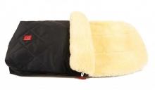 Kaiser Lammfell-Fußsack Naturell schwarz
