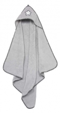 Alvi hooded towel terry cloth stars and little stars grey 90x90