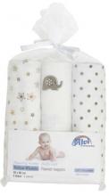 Alvi molleton-diapers beige printed 3 piec. 80x80