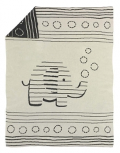Alvi knitted blanket striped elephant silver 75x100