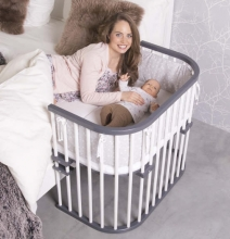 Tobi babybay rollaway bed Original grey/white lacquered