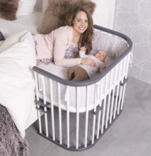 Tobi babybay rollaway bed Maxi grey/white lacquered