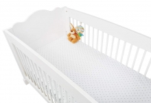 Pinolino cot sheet double pack stars grey and white
