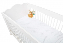 Pinolino cot sheet double pack stars rose and white