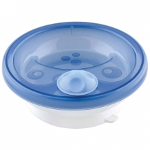 Primamma warming dish bowl with super grip suction base blue