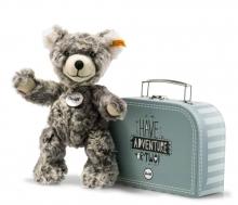 Steiff 109911 Teddybär Lommy 25 grau/beige Koffer