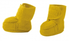 Disana boiled wool booties size 2 curry