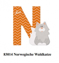 Sevi wooden letter N Norwegian Forest Cat