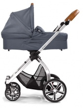 Gesslein Indy combi-stroller Smoke Petrol incl. carryot, seat frame eloxiert/cognac