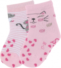 Sterntaler ABS-Krabbelsöckchen Katze (Doppelpack) 17/18 rosa
