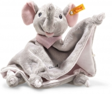 Steiff Trampili elephant cuddly blanket 28 cm grey / pink