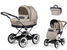 Peg Perego ZCUECR2LBE Culla Elite Luxe beige chrome stroller set