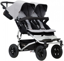 Mountainbuggy Duet V3 silver twin stroller
