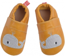 Anna and Paul leather toddler shoe whale with leather sole size S-18/19