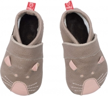 Anna and Paul leather toddler shoe mouse stone with leather sole size XS-16/17