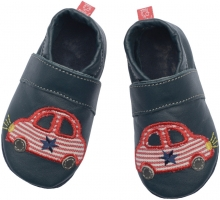 Anna and Paul leather toddler shoe car navy with leather sole